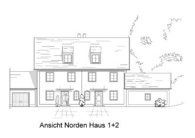 Gräfelfing, Radlbäckstr., Ansicht Norden Haus 1+2